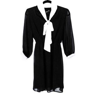 ASOS Black & White Wednesday Addams Scarf Dress